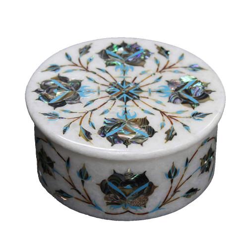 Round White Marble Cool Drink Coasters Inlaid Paua Gemstone