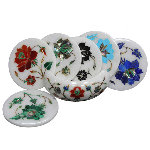 Unique White Marble Drink Coasters Inlaid Pietra Dura Art