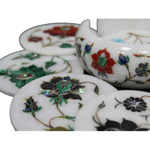 Unique White Marble Drink Coasters Inlaid Pietra Dura Art