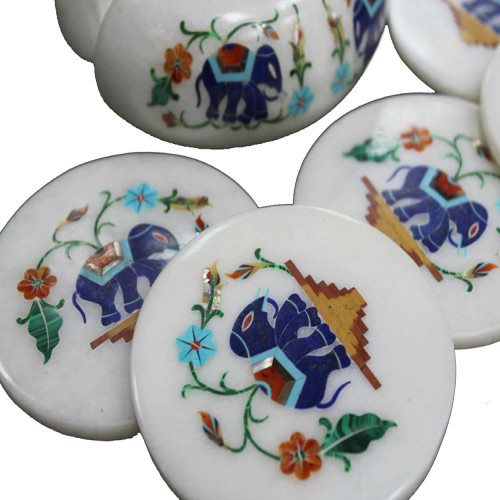 Antique Elephant Marquetry Art Inlay White Marble Coasters