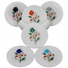 Round Marble Coaster Set Inlaid Malachite Gemstone