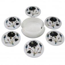 Round White Marble Drink Coaster Inlaid Black Onyx