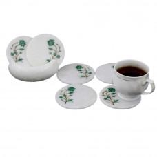 White Marble Tea Cup Coaster Set Inlaid Malachite Gemstone