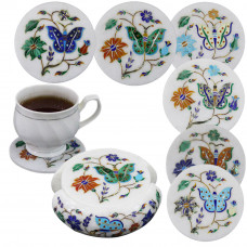 White Marble Inlay Coffee Coaster Set For Home Decoration