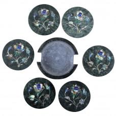 "Coaster Set Green Marble  4""x 4"" Inlaid Paua Shell"