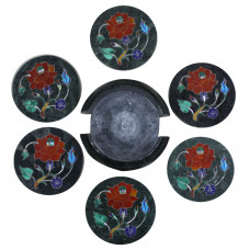 Coaster Set Green Marble Inlay Home Basics Six Pieces