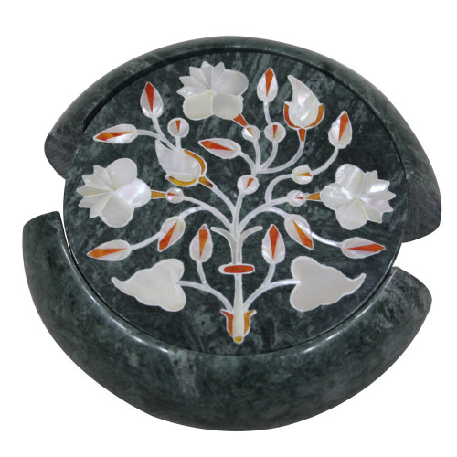 Tea Coaster Set Green Marble Inlay Home Basics Six Pieces Pietra Dura Art