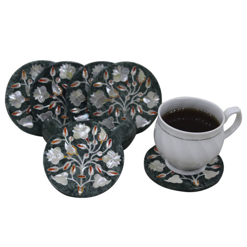 Tea Coaster Set Green Marble Inlay Home Basics Six Pieces Pietra Dura Art