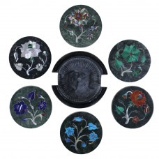 Round Marble Inlaid Tea Coasters For New Year Gift