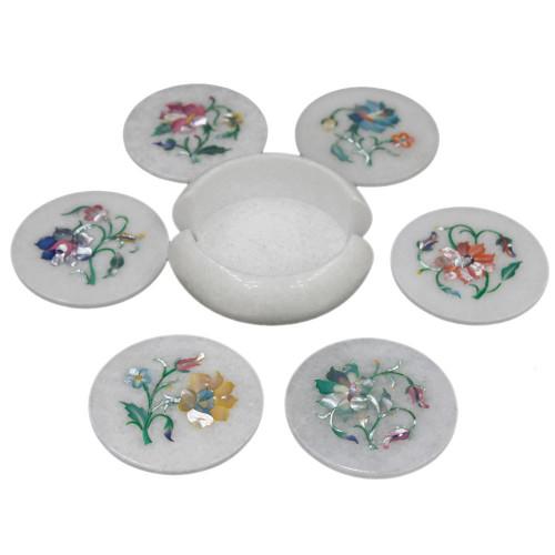 Vintage White Marble Stone Art Kitchen Coaster Set