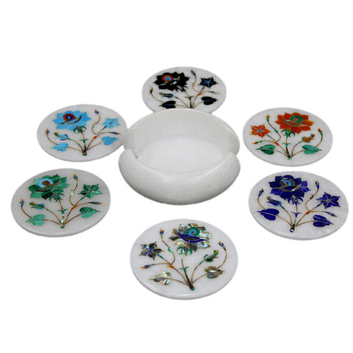 Round Marble Inlay Tea Coaster Set Serving For Guests