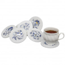 White Marble Inlay Drink Coaster Set