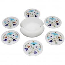 Handmade Handicraft Round White Marble Inlay Coasters