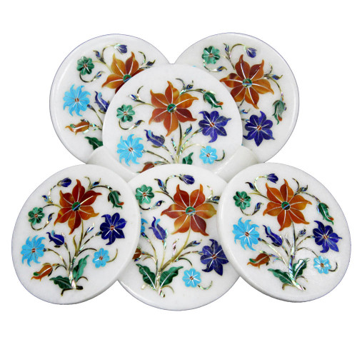 Beer Coasters White Marble Inlaid Carnelian And Turquoise Gemstones