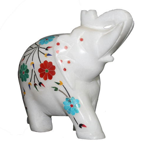 Antique Marquetry Art Inlay White Alabaster Marble Elephant Statue