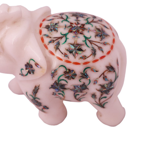 Saluting White Marble Elephant Statue Inlaid With Paua Shell Gemstone