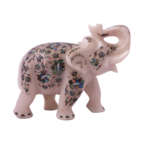 Home Decor White Marble Elephant Statue Inlaid With Pauch Shell Gemstone