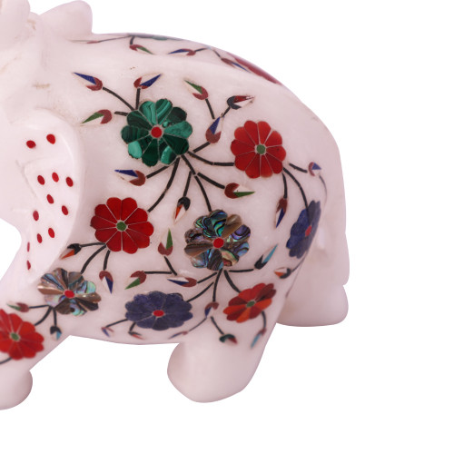 Floral White Marble Elephant Statue