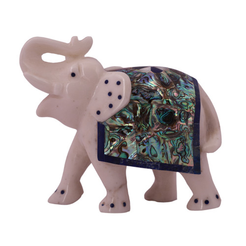 White Marble Elephant Statue Inlaid With Paua Shell Stone