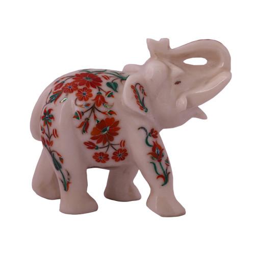 White Marble Elephant Statue Inlaid With Semiprecious Gemstones