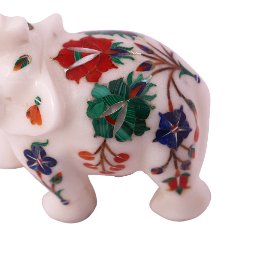 Saluting White Marble Elephant Statue Inlaid With Semiprecious Gemstones