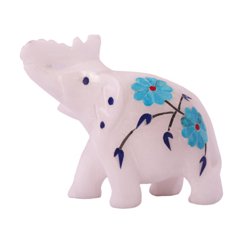 White Marble Elephant Sculpture Inlaid With Turquoise Gemstone