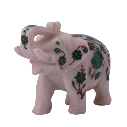 White Marble Elephant Statue Inlaid With Malachite Stone