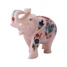 Decorative White Marble Elephant Figurine