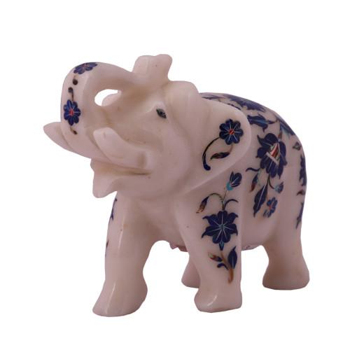 White Marble Elephant Sculpture Inlaid With Lapislazuli Stone