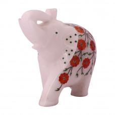 Flower Decorative  White Marble Elephant Figurine