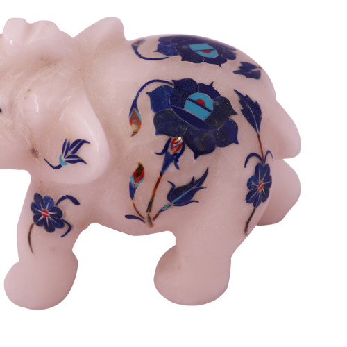 Saluting White Marble Elephant Sculpture Home Decor