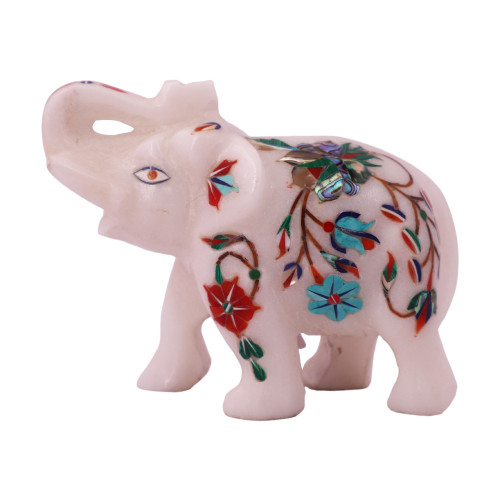 Decorative Saluting White Marble Elephant Figurine For Home Decor