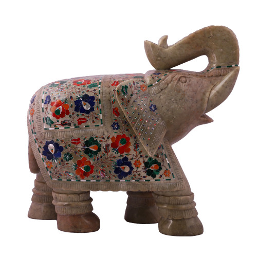 Saluting Green Marble Elephant Statue For Home Decor