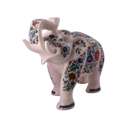 Saluting White Marble Elephant Statue Inlaid Peacock