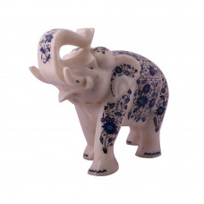 Fully Decorative White Marble Elephant Statue Inlaid With Gemstones