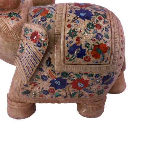 Home Decor Saluting Green Marble Elephant Sculpture