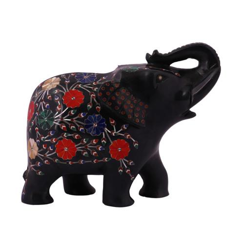Black Marble Elephant Statue Inlaid With Carnelian Gemstone