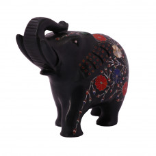 Black Marble Elephant Statue Inlaid With Carnelian Gemstone
