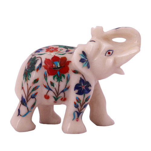Decorative White Marble Elephant Statue For Home Decor