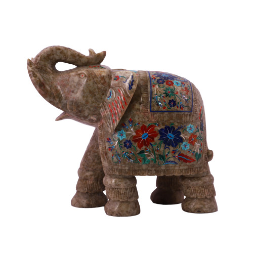 Green Marble Elephant Statue Inlaid With Semiprecious Stones