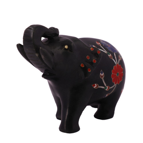 Home Decor Black Marble Elephant Statue
