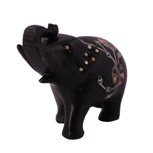 Black Marble Elephant Sculpture Inlaid With Paua Shell Gemstone