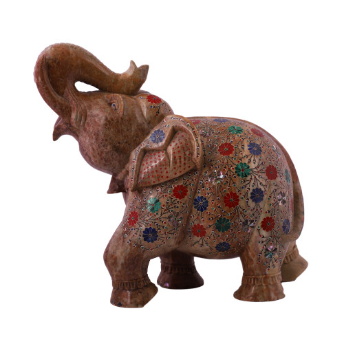 Saluting Green Marble Elephant Figurine