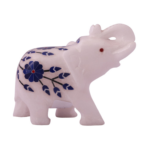 Solid White Marble Elephant Statue Inlaid With Semiprecious Stones
