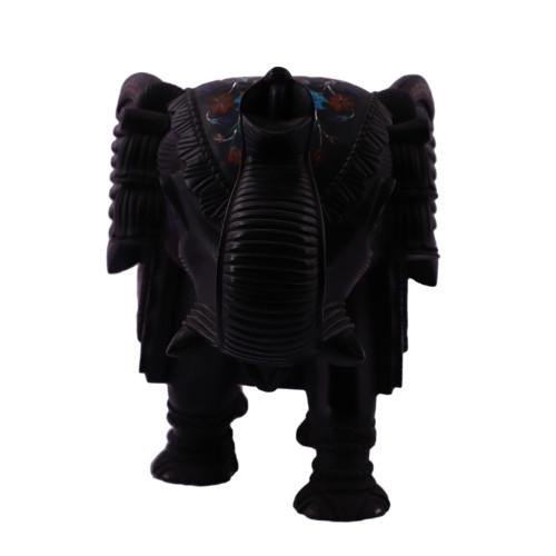 Black Marble Elephant Sculpture For Home Decor