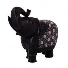Decorative Black Marble Elephant Figurine Inlaid With Semiprecious Stones