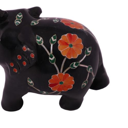 Saluting Black Marble Elephant Figurine Inlaid With Carnelian Gemstone