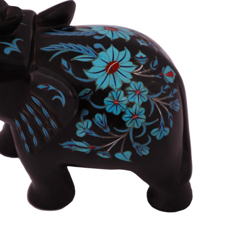 Black Marble Elephant Figurine For Home Inlaid With Turquoise
