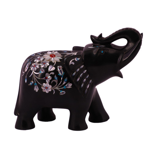 Black Marble Elephant Statue For Home Inlaid With Mother of Pearl