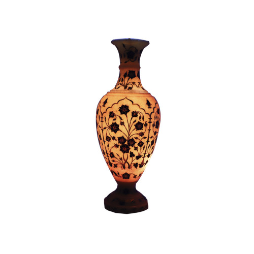 Handmade Inlaid Lapislazuli Pink Marble Flower Vase For Home